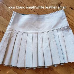 Dresses & Skirts - white real genuine leather mini pleated skirt